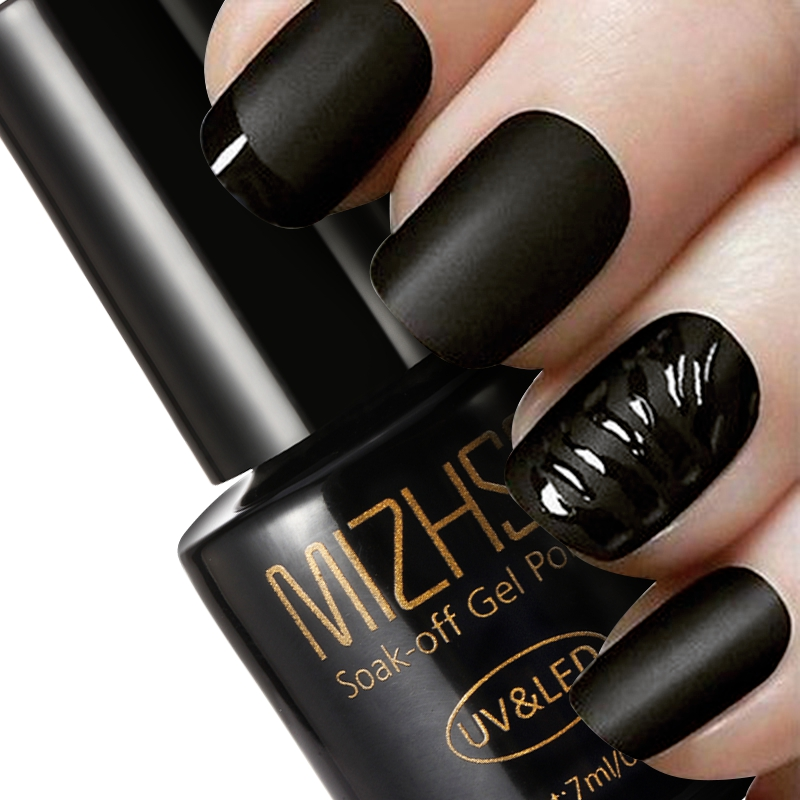 Matte Black Gel Nail Polish: MIZHSE Black Bottle 7ML Matte Top Coat Gel Nail Polish