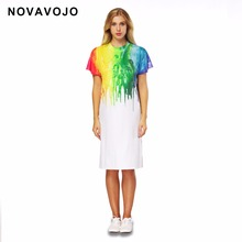 NOVAVOJO Brand Colorful 3D Paint Printing Long Girls T-shirt Dress Summer Ladies Dress White Color Women Split Dress