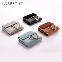 LAFESTIN Genuine Leather Women Short Wallet 100 Leather Coin Purse Lady Credit Card Holder Female Women