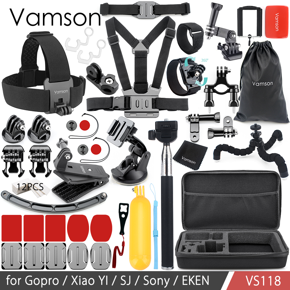 Vamson for GoPro Hero 6 5 4 3+ Accessories Set Collection Box Mount Adapter Head Chest Strap Tripod for SJ4000 for Xiaomi VS118