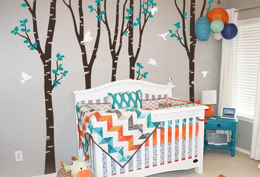 Supplémentaire Grande Maison Décoration Oiseaux Wall Sticker Bébé Chambre de bébé chambre Sticker Set de 5 Arbre Enfants Chambre murale W-20