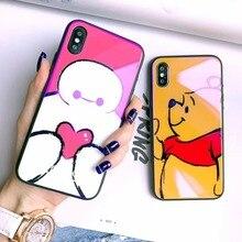 Hot Cute Cartoon winnie  pooh bear Phone Case for iPhone 7 8 6 6s Plus X snowman love heart purple Ray Tempered Glass Cover