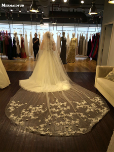 3.5 Meters Two Layers Cut Edge Flower Appliques Cover Face Wedding Veil With Comb Voile Mariage 2019 Bridal Veil
