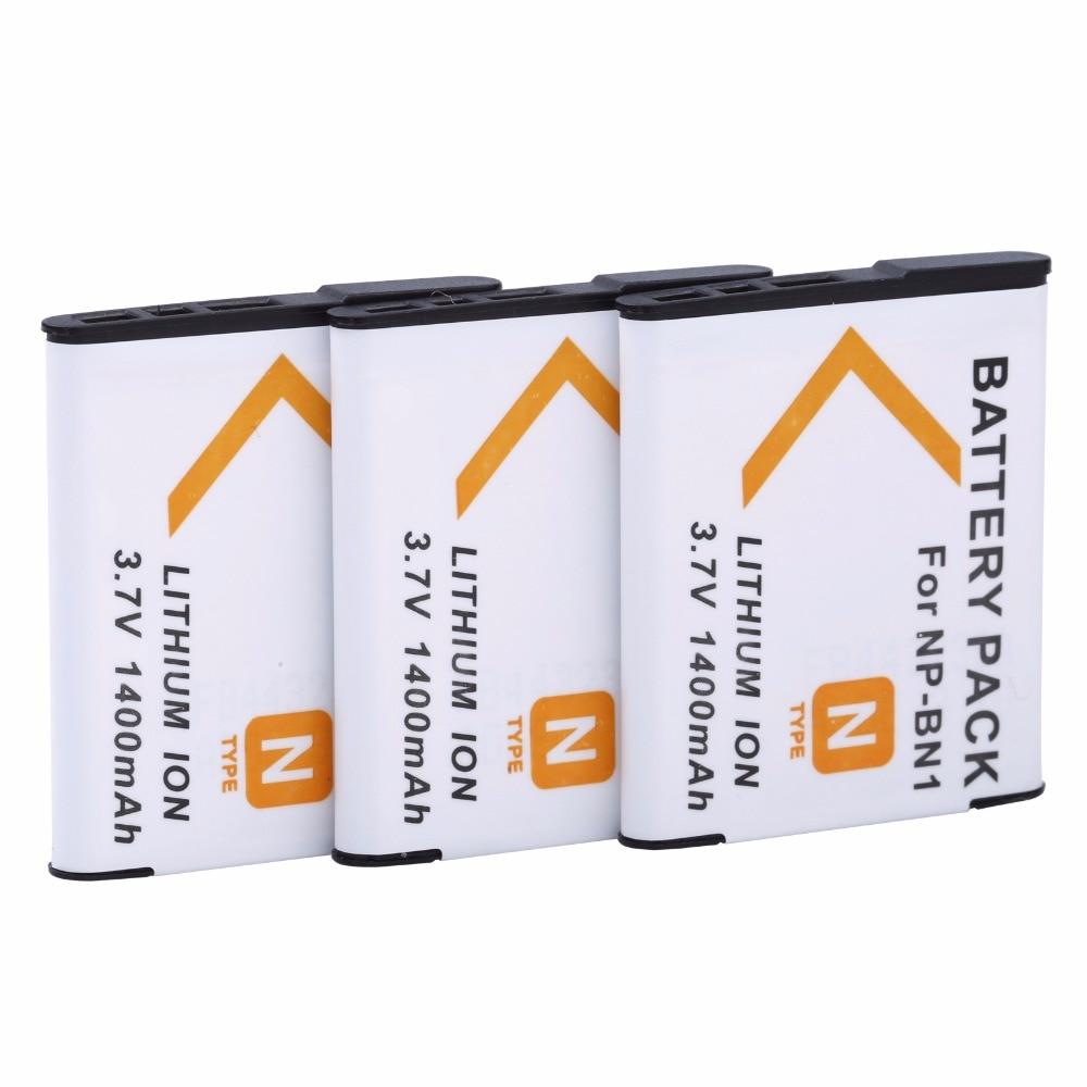 3Pcs PROBTY NP-BN1 NPBN1 NP BN1 Battery for SONY CyberShot DSC TX9 T99 WX5 TX7 W390 W380 W350 W360 QX100 W370 W730 Camera ...