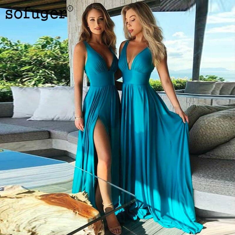 Sofuge Turquoise Sexy col en V Jersey dos nu bretelles robe De soirée haute fente bal Vestidos De Fiesta robe De soirée formelle arabe