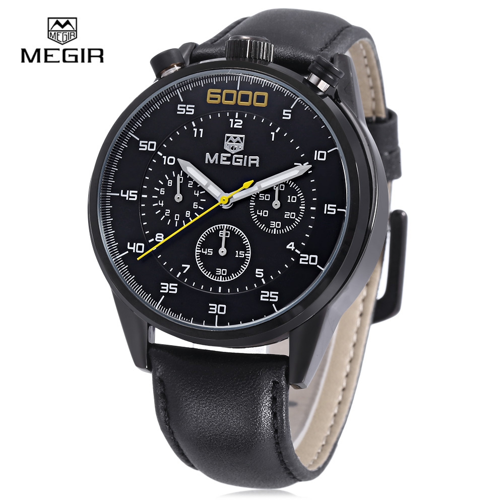 New MEGIR Men Quartz Watch Fashion Sprot Casual Watch Genuine Leather Three Working Sub dials Wristwatch