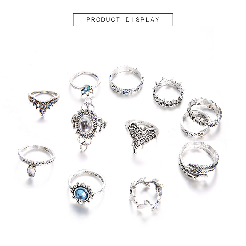 Bohemian Flower Ring Set Retro Ancient Silver Blue Crystal Elephant Feather Leaf Crown Ring Finger Jewelry New Ball Wedding Gift in Rings from Jewelry Accessories
