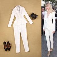 Professional Women Suits Office Business Ol White Formal Ladies Pant Suits Two Piece Black Uniform Blazer Sets Ladies Suits