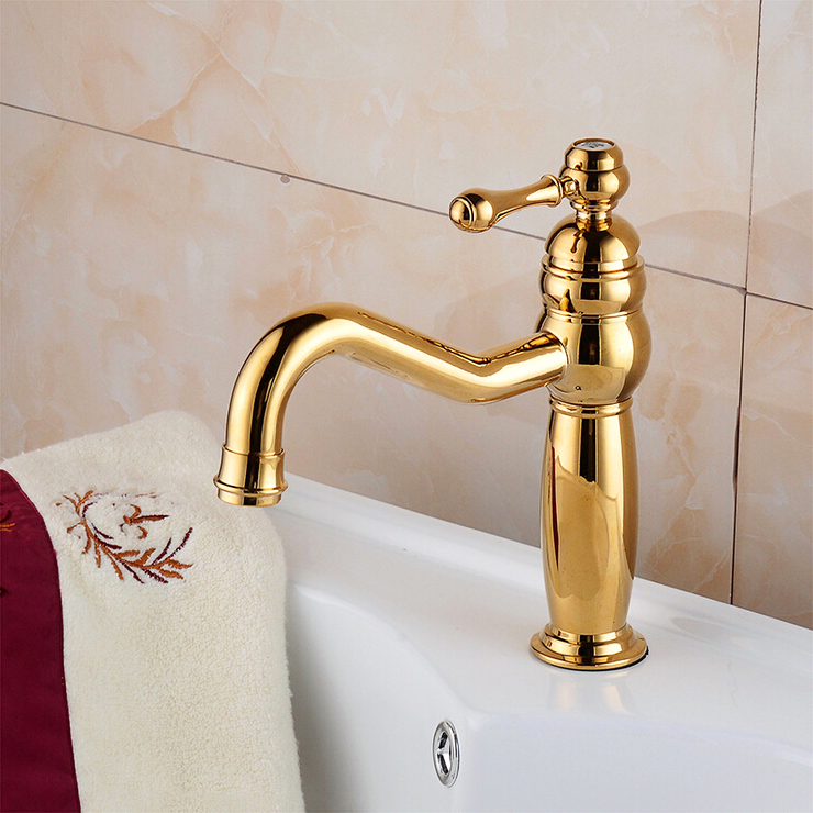 L16186 - Luxury Deck Mounted Gold Color Brass Basin TapL16186 - Luxury Deck Mounted Gold Color Brass Basin Tap