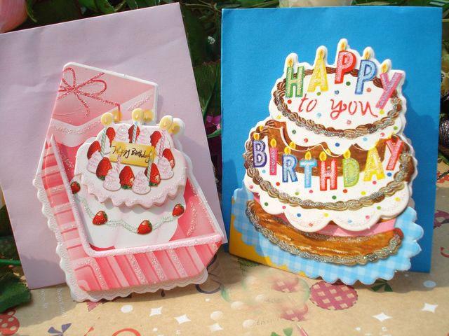 Wholesale 144pcs Mini Greeting Card Shop Gift Happy Birthday Cake