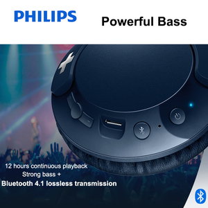 Image 3 - Philips Bluetooth Headset Earphone Wireless Headphones SHB3075 Volume with Microphone Control for  Galaxy Note 8 XiaoMI Hua Wei