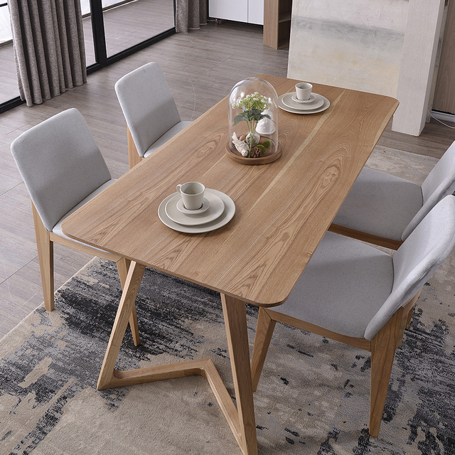 Nordic Wood Tables 6 Person Dinette Table And Four Chairs Combination Ikea Desk Designer Model Room