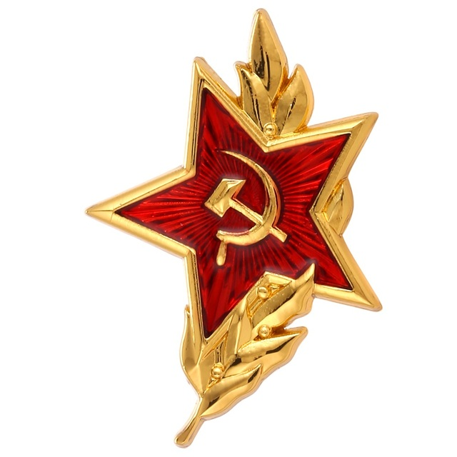 Cold War Soviet Cccp Red Star Sickle Hammer Symbol Pin Badge In Pins