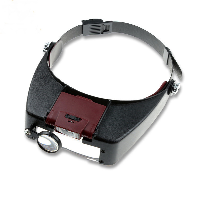 Helmet Magnifier Glass Magnifying Glasses Loupe Microscope Lupas Con Luz LED lights Reading or Repair Use Jewel illumination