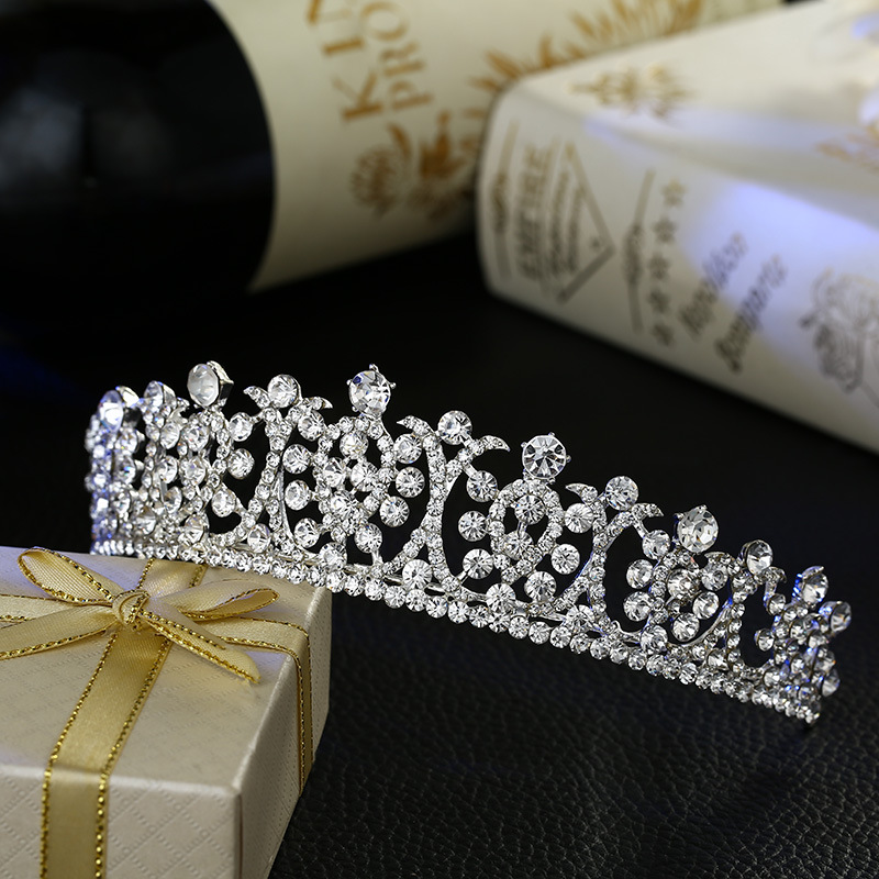 Luxury Silver Crystal Wedding Tiaras Hairband Headpiece Princess Rhinestone Pageant Crown Bridal Hair Accessories tiara de noiva