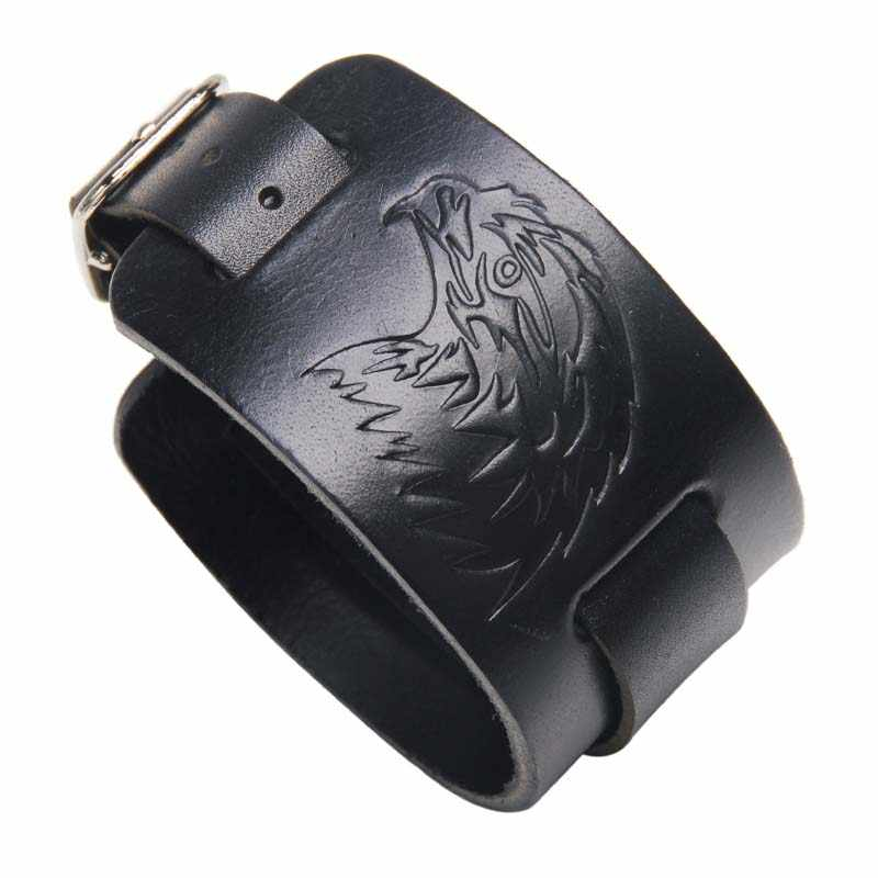 Vintage Rock Punk Eagle Men Leather Bracelet Open Cuff Rope Bangles Bracelets Double Wide Black Brown Color Unisex Jewelry 2019