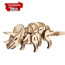 Europe Buyer Super Deal Robotime Sound Light Remote Control Toy Walking Triceratops Wooden Dinosaur Assembly RC Animal D400