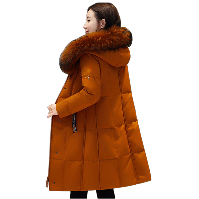Large Real Fur Collar Jacket Winter Women Parkas White Duck   Down   Long   Coat   Female Snow Warm Outwear Thick Hoody Winter   Down     Coat
