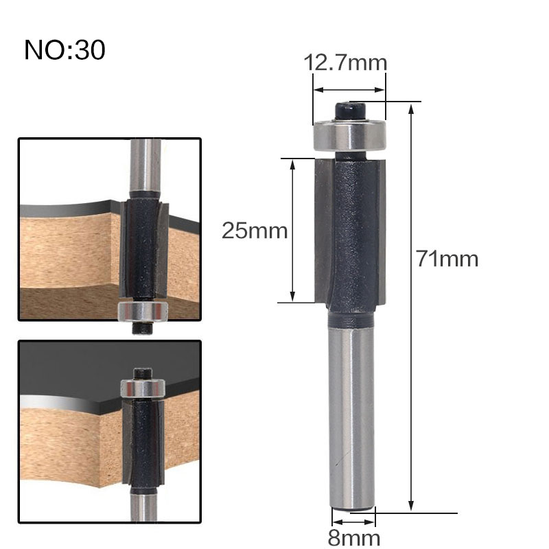 Image 3 - 1pcs 8mm Shank wood router bit Straight end mill trimmer cleaning flush trim corner round cove box bits tools Milling Cutter RCT-in Milling Cutter from Tools