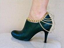 Tobilleras cadena de oro de moda único, zapatos, joyas, pulseras para el tobillo, zapatos de tacón alto/botas cadena, multi-cadena de accesorios, envío gratis
