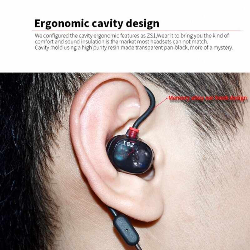 KZ ZS1 in-ear Monitor słuchawki Stereo HiFi słuchawki muzyczne zestaw słuchawkowy DJ Dual Dynamic Driver słuchawki douszne fone de ouvido z mikrofonem