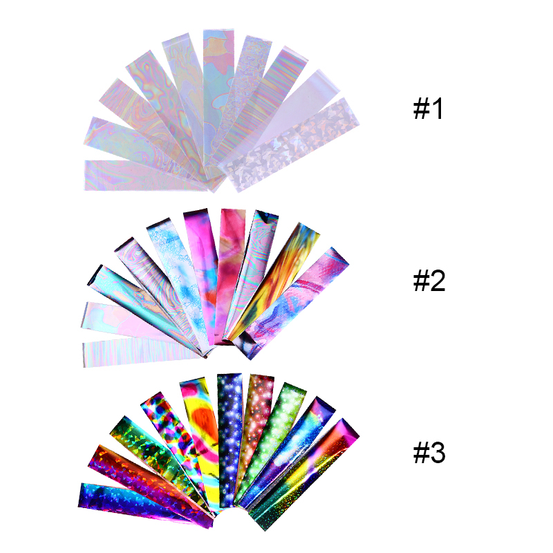10Pcs Gradient Holographic Nail Foil Transparent AB Color Starry Sky Laser Blue Paper Nail Manicure Transfer Sticker Water Slide