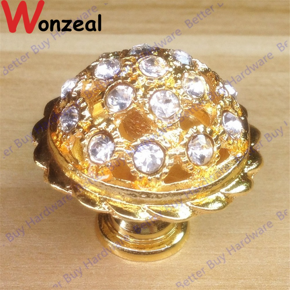 Dia. 34mm Golden Crystal single hole door knob/furniture handle knob pull cabinet handle knob 10pcs kitchen furniture pull pumpkin shape pastoralism ceramic knob various color single hole knobdrawer knob dia 40mm
