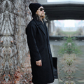 Loose Men's Retro Fashion Double-breasted Brand Long Woolen Trench Coat Black 2016 Autumn Winter Thick Outwear Coat New