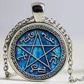 1 pair Armadilha Demônios Sobrenaturais colar jóias vidro colar Cabochon
