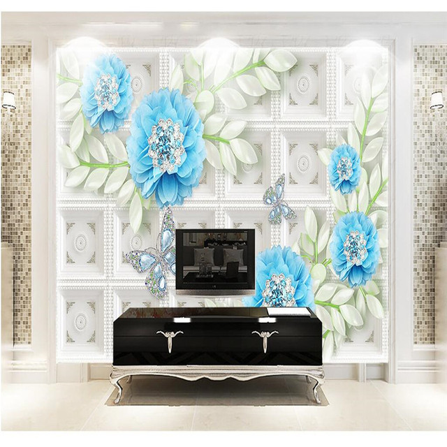 Us 15 45 Custom Any Size Photo Background Wallpapers Butterfly Blue Flower Art Wall Covering Bedroom Murals Modern Wallpaper Home Decor In