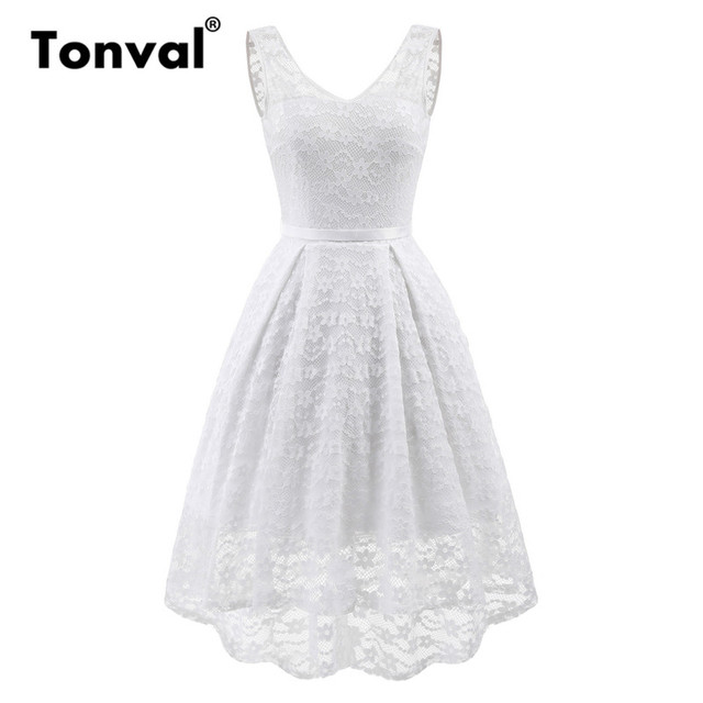Tonval White Lace Women High Low Hem Midi Dress Elegant Backless Party  Dress 2018 Vintage Robe Dresses c938b177601c