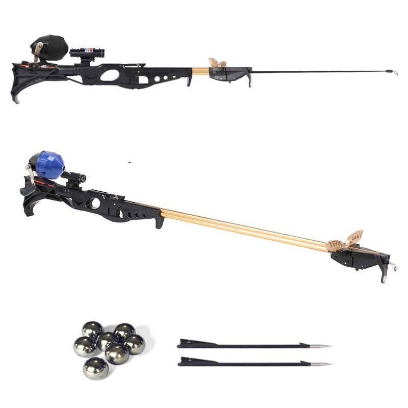 Slingshot Hunting Fishing Bow Powerful Catapult Support Fishing Reel Multi-function Steel Ball Ammo Arrow Shooting Fishing Rod