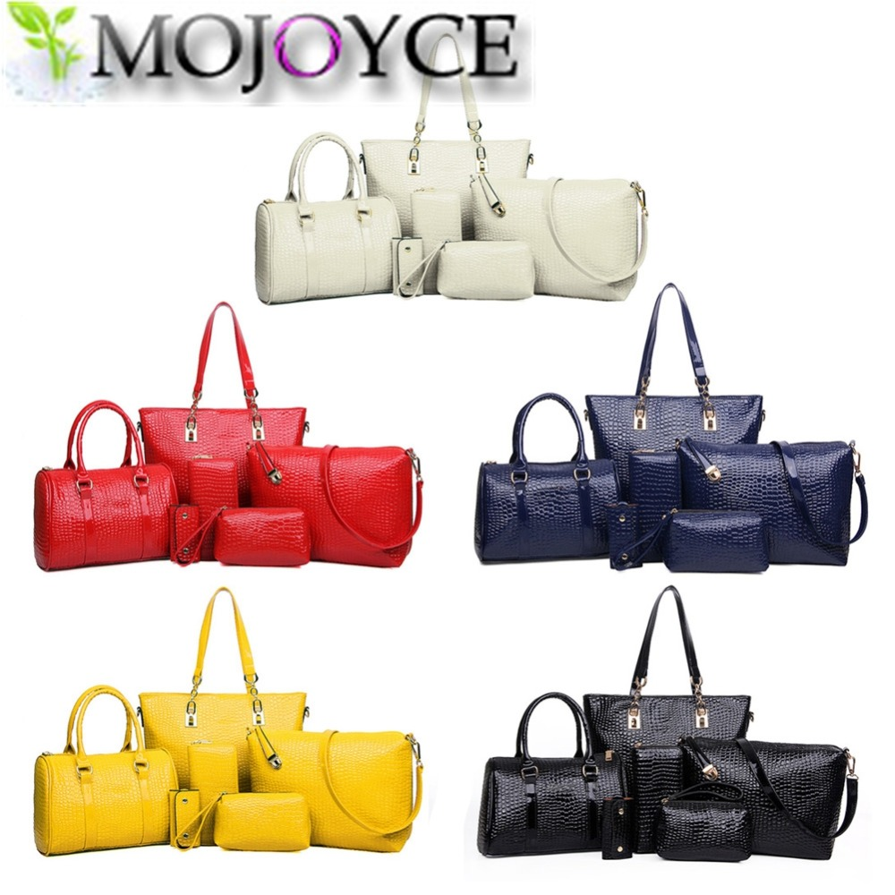 2017 NEW 6pcs set Fashion Crocodile font b Handbag b font PU Leather Bag Women font