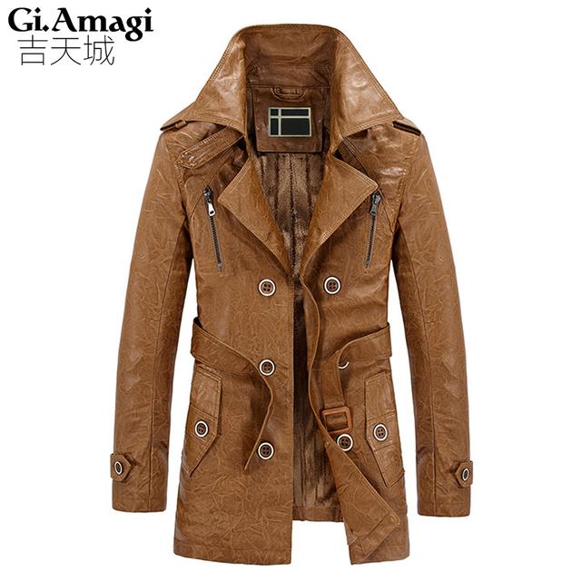 Além de veludo couro PU Britânico Magro double breasted mens trench coat longo Europa trenchcoat jaqueta casaco masculino trincheira