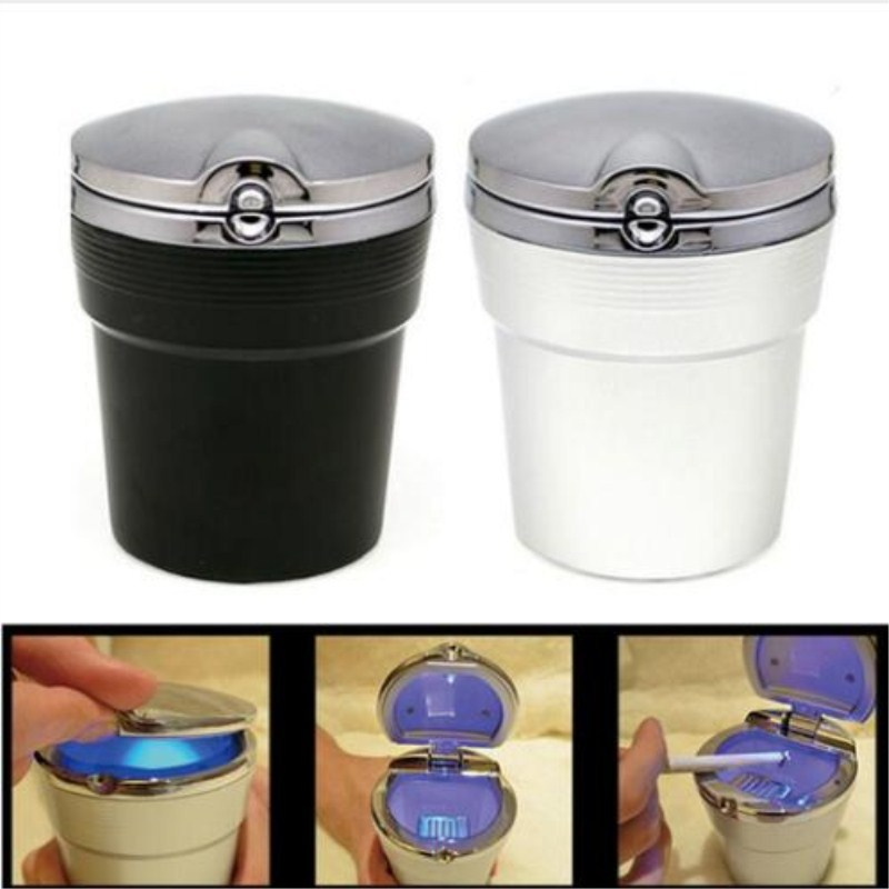 Car Ashtray With LED Light Cigarette Smoke Travel Remover Ash Cylinder Car Smokeless Smoke Cup Holder Auto Accessories
