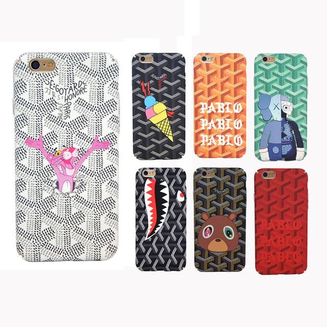 Luxury Paris Goyar Case Back Cover For iPhone 7 7 Plus 6S 6 Plus Cute Cartoon God Loves Rock Phone Case