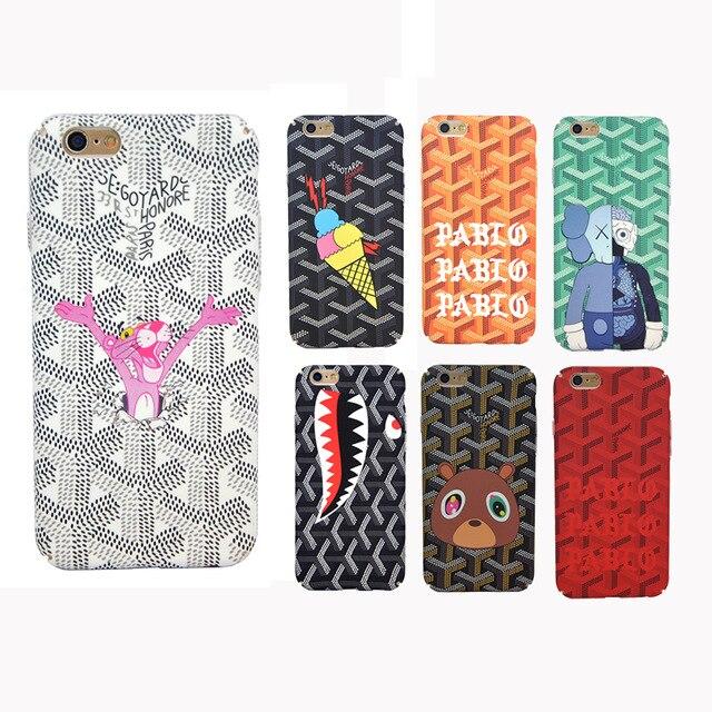 Luxury Paris Goyar Case Back Cover For iPhone 7 7 Plus 6S 6 Plus Cute Cartoon God Loves Rock Phone Case