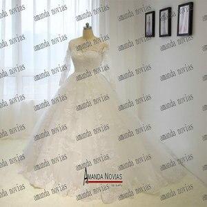 Image 2 - خمر فستان زفاف الأميرة الكرة ثوب كامل الرباط فستان الزفاف