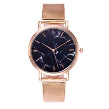New Men Women Watches Quartz Clock Alloy Net Belt Wristwatch for Boy Girl Gold Silver Black Rose-gold