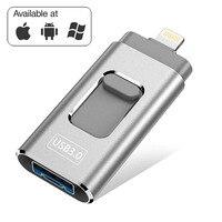 3 in 1 USB Flash Drives for iPhone/Android 16G 32GB 64GB 128GB USB Stick OTG Pen Drive Usb 3.0 External Thumb Drive Memory Stick USB Flash Drives Computer & Office -