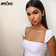 Aproms Classic Square Neck Knitted Ribbed Camis Womens Low Back Crop Top White Basic Tank Tops Streetwear Cropped Top Tee