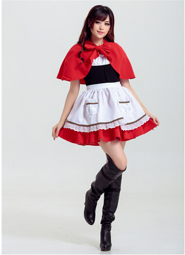 Cute Little Red Riding Hood cosplay role-playing carnival sexy party costume halloween dress+cloak+apron girl women  uniform