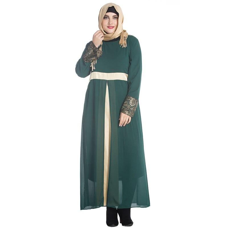 BLINGSTORY nouvelle mode grande taille Robe en mousseline de soie caftan musulman moyen-orient à manches longues Robe pakistanaise L-7XL
