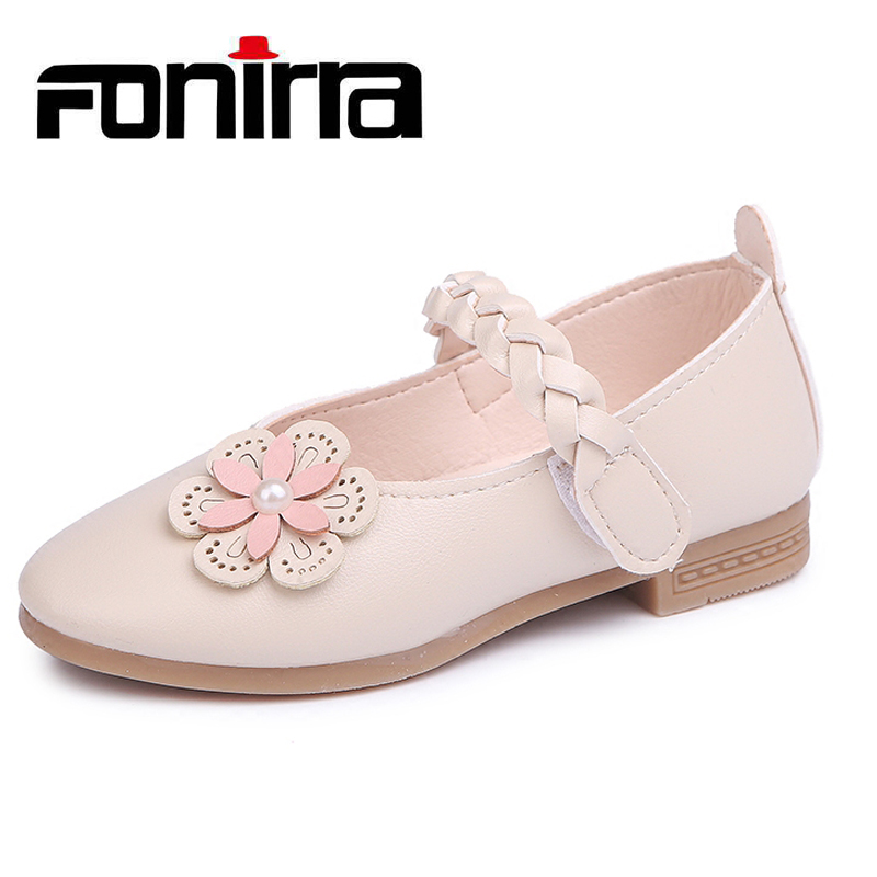 New Girls Shoes Spring Autumn Solid Fashion Breathable Flat With Shoes Children Girls Flower Princess Leather Shoes 389