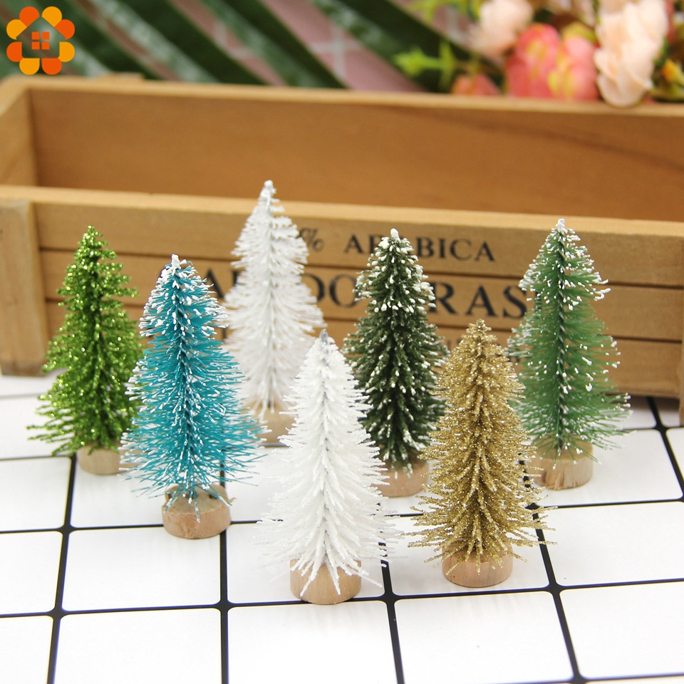 New!10PCS DIY 6CM Christmas Tree Small Pine Tree Mini Trees Placed In The Desktop Home Christmas Decoration Kids Gifts Supplies image