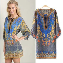 Summer National Style Vintage Women Bohemia Chiffon Printing One-piece Dress Indian Dress S M L(China)