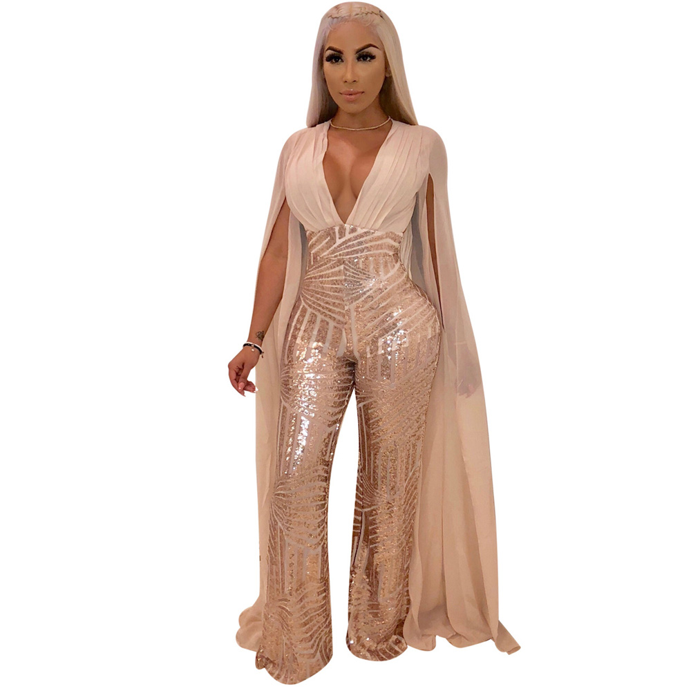 a47214852bd3 Plus Size Cape Split Extra Long Sleeve Sequins Jumpsuit Women Backless V  Neck Night Club Party Romper Sexy See Through Overalls-in Jumpsuits from  Women s ...