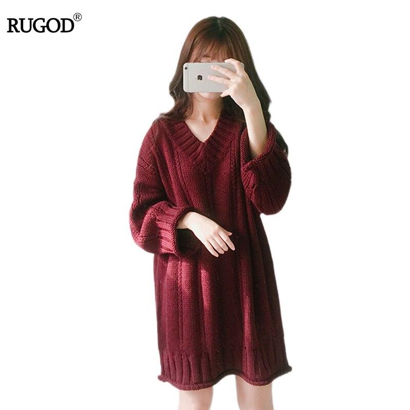 RUGOD pull femme v neck above knee length knitted sweater dress women Cotton dress pullover female