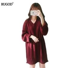Rugod тянуть роковой V шеи выше колен вязаный свитер женщин платье хлопка пуловер женский Осень зимнее платье 2017