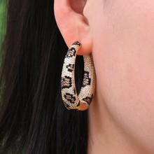 GODKI Luxury Leopard Statement Big Hoop Earrings For Women Wedding Cubic Zircon CZ DUBAI Bridal Round Circle Earring 2019